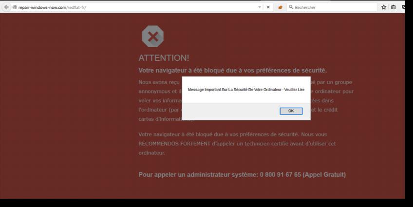 pop up alerte virus sur son navigateur